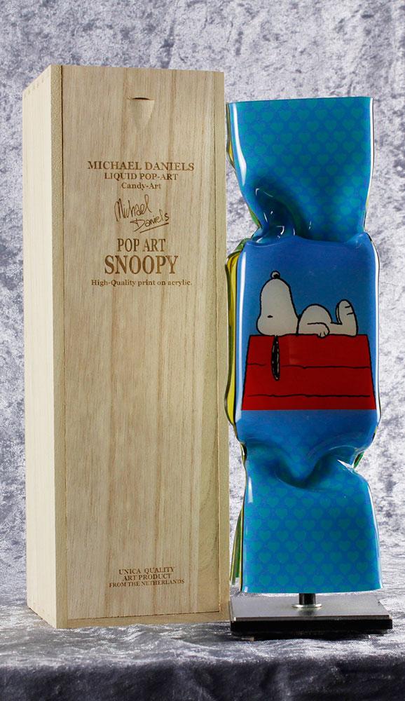 Michael Daniels - LIQUID POP ART - SNOOPY (WOODSTOCK) - original handgemachte ART CANDY SKULPTUR