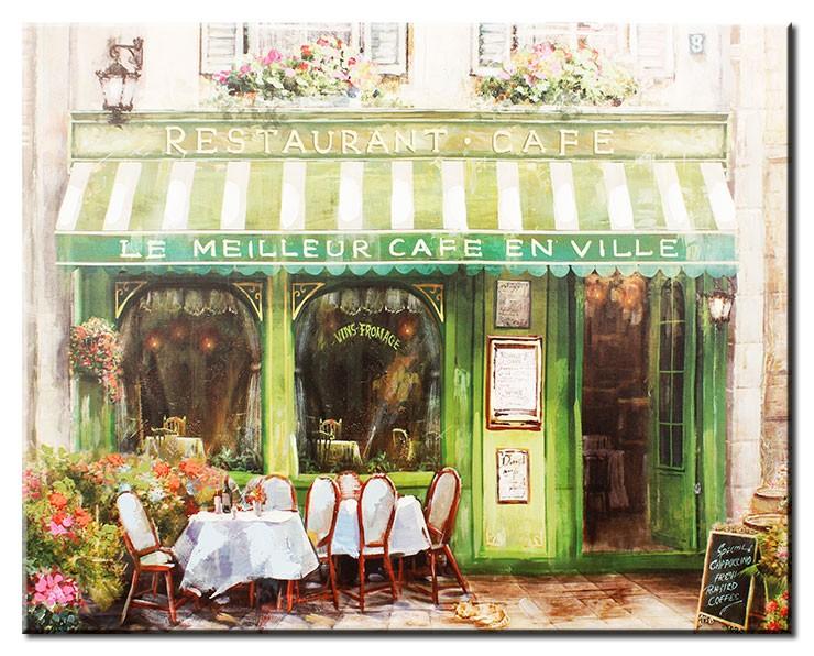 Modernes Leinwandbild - Le Meilleur Café En Ville - handüberarbeitete Mischtechnik
