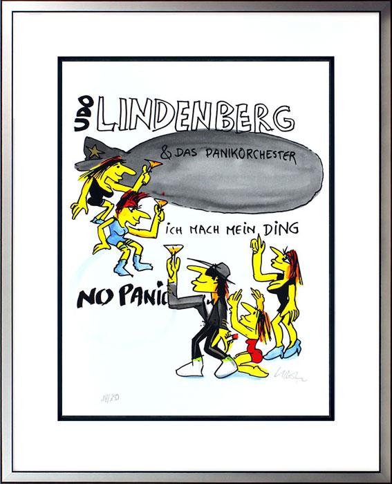Udo Lindenberg ICH MACH MEIN DING - ZEPPELIN - PANIKORCHESTER original Grafik handsigniert