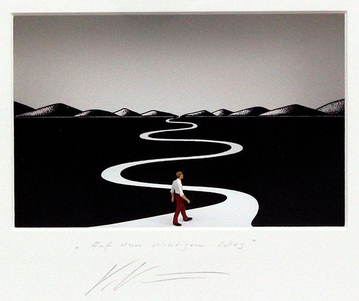 Volker Kühn - AUF DEM RICHTIGEN WEG - Original  3D-Bilder mit Rahmen