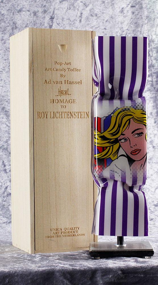 Ad van Hassel - ART CANDY TOFFEE - POP ART HOMAGE TO ROY LICHTENSTEIN - original handgemachte ART CANDY SKULPTUR