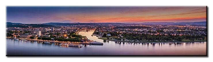 Koblenz Abendstimmung Panorama 2 - Leinwandbild