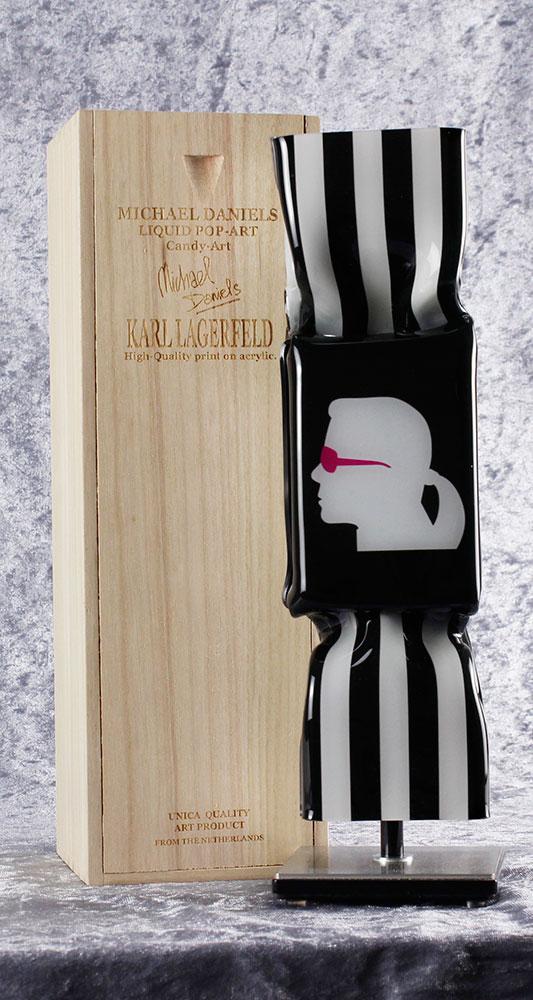 Michael Daniels - LIQUID POP ART - KARL LAGERFELD - original handgemachte ART CANDY SKULPTUR