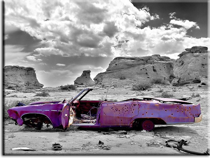 Modernes Leinwandbild - Pink Cadillac