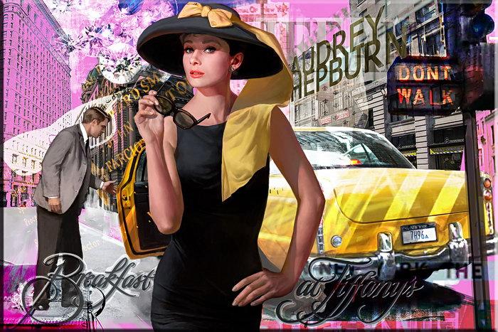 Modernes Leinwandbild - Audrey Hepburn, Frühstück bei Tiffany