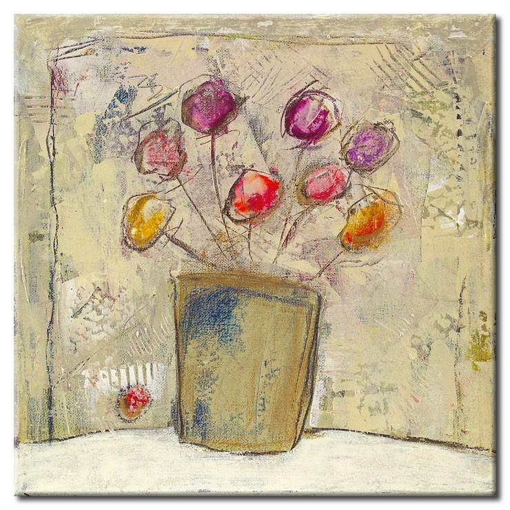 Karin Melé - Autumn Flowers - Original handgemalte Mischtechnik