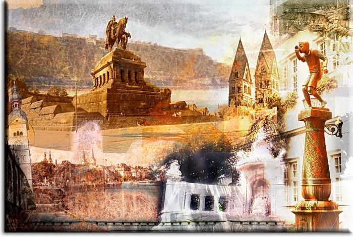 A. Baecker - Koblenz Collage Sepia Leinwandbild