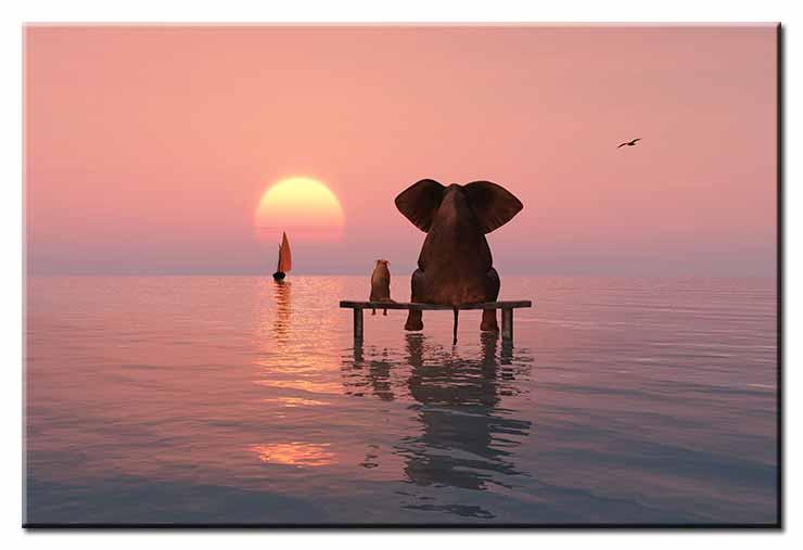 Modernes Leinwandbild - Beste Freunde - Elefant und Hund im Sonnenuntergang
