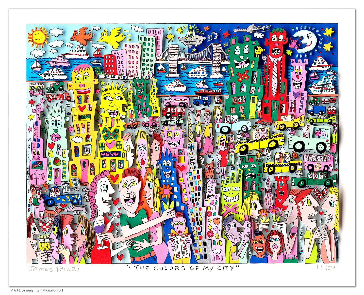 James Rizzi - THE COLOURS OF MY CITY - Original 3D Bild drucksigniert - ohne Rahmen PP-Normale Nummer