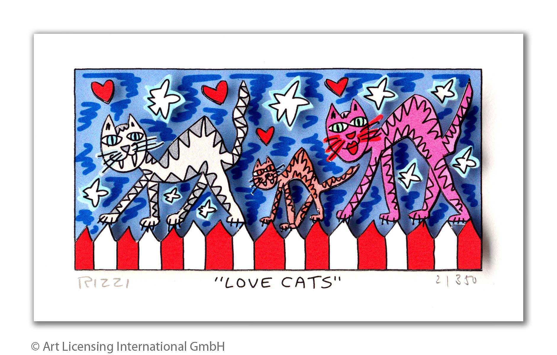 James Rizzi - LOVE CATS - Original 3D Bild drucksigniert - ohne Rahmen PP-Normale Nummer