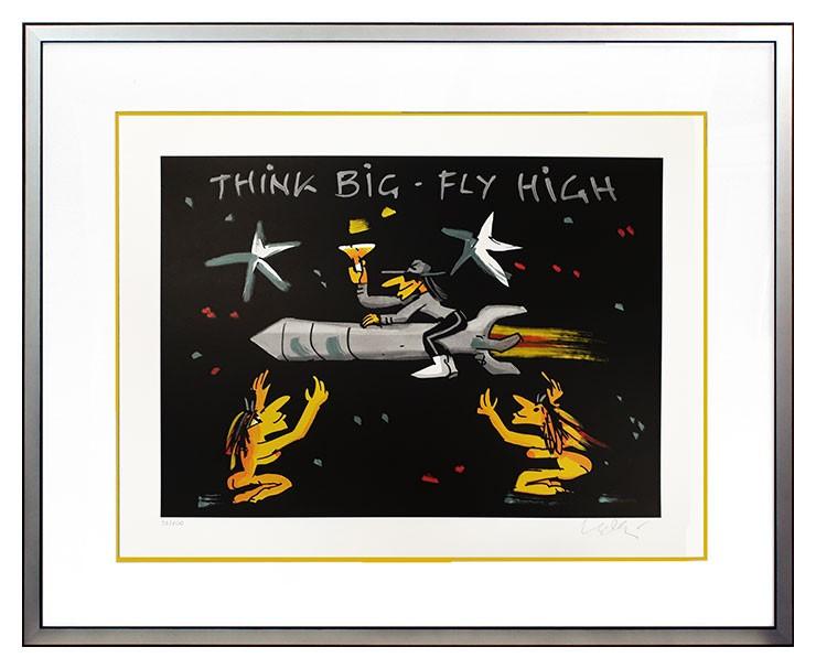 Udo Lindenberg THINK BIG - FLY HIGH - original Grafik handsigniert