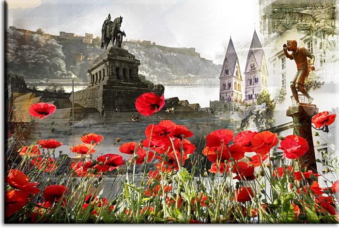 Koblenz Collage mit Mohnblumen