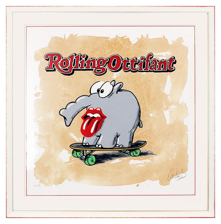 Otto Waalkes - Rolling Ottifant - original Grafik handsigniert