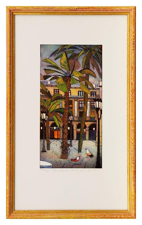 Jutta Votteler - Barcelona Plaza Real - Original Farb-Radierung - limitiert und handsigniert