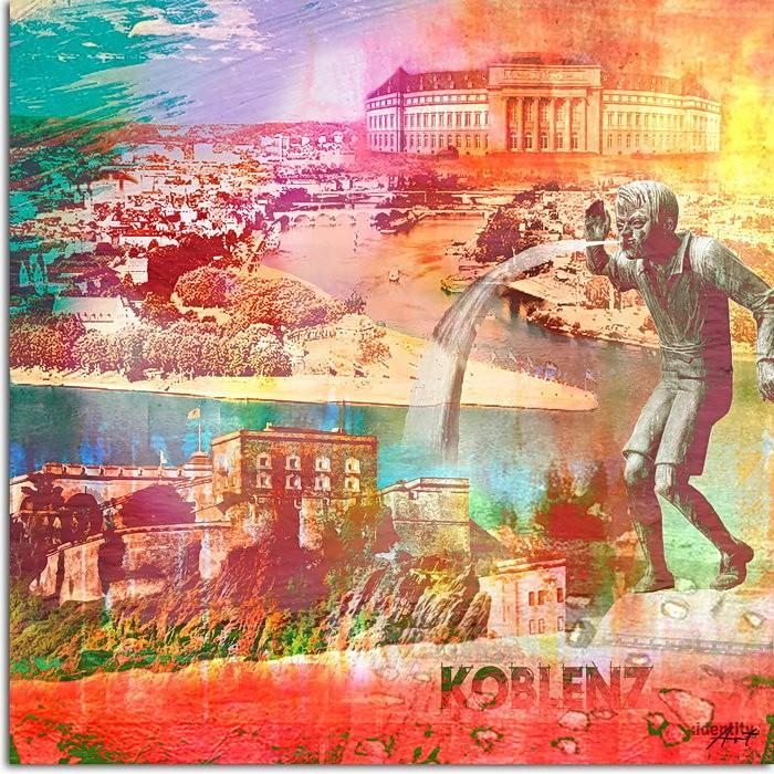 Koblenz Collage im Pop Art Stil - Schängel I