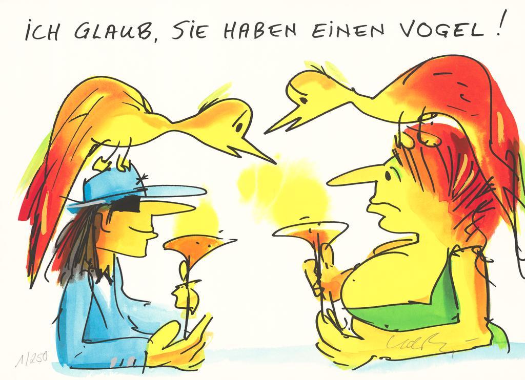 Udo Lindenberg ICH GLAUB SIE HABEN EINEN VOGEL - original Grafik handsigniert - ohne Rahmen