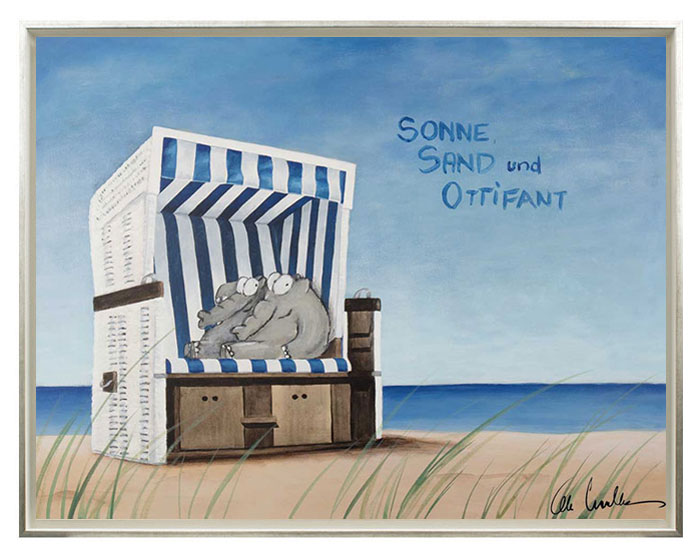 Otto Waalkes - SONNE, SAND & OTTIFANT - ORIGINAL PIGMENTGRAFIK  handsigniert