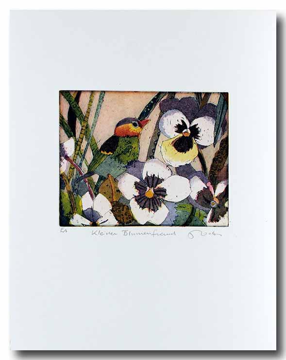 Jutta Votteler - Kleiner Blumenfreund - Original Farb-Radierung - limitiert und handsigniert