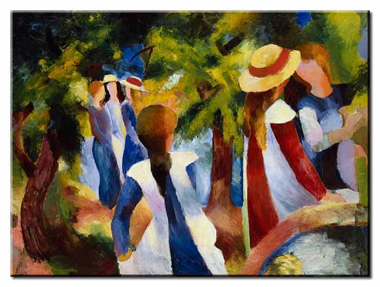 August Macke Bilder - Mädchen unter Bäumen