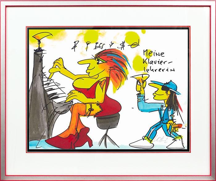 Udo Lindenberg MEINE KLAVIERLEHRERIN - original Grafik handsigniert
