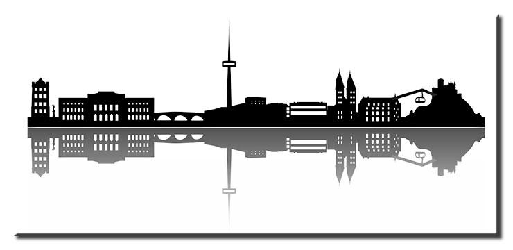 Koblenz Skyline Silhouette - Leinwandbild