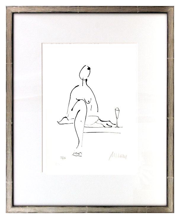 Armin Mueller-Stahl - Akt mit Wein Original Lithographie - limitiert und handsigniert