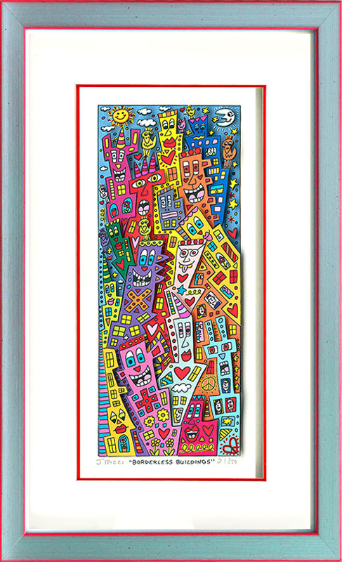 James Rizzi - BORDERLESS BUILDINGS - Original 3D Bild drucksigniert