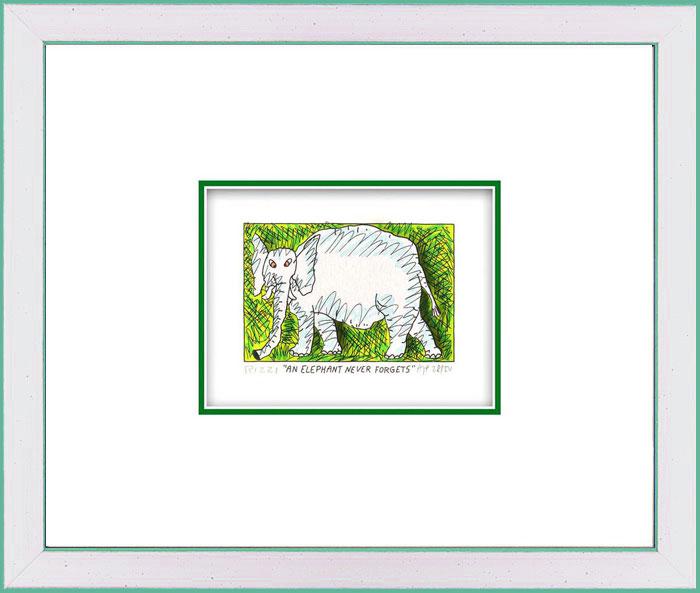 James Rizzi - AN ELEPHANT NEVER FORGETS  - Original 3D Bild drucksigniert
