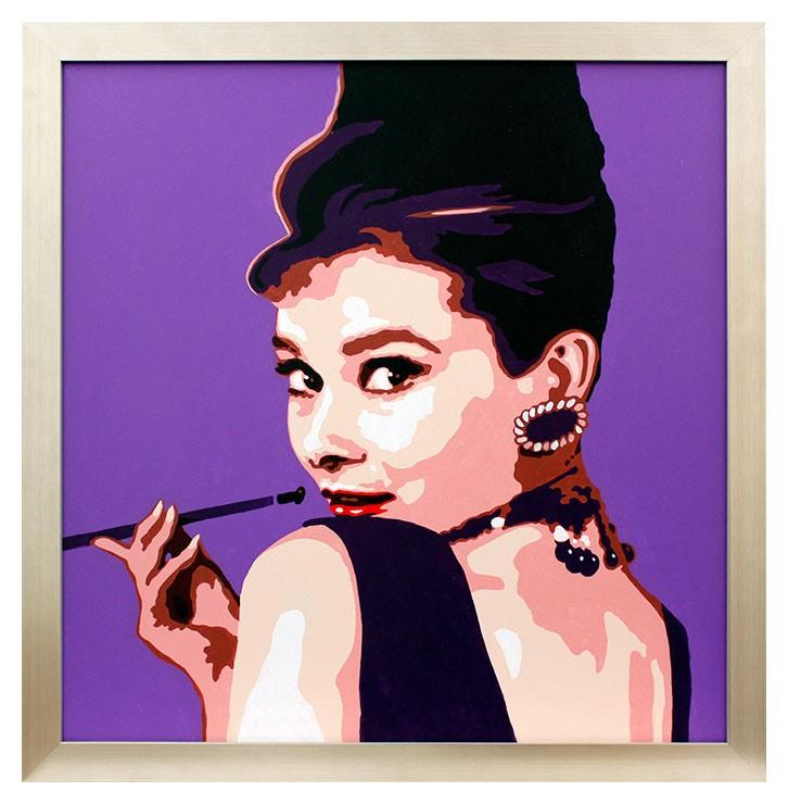 Original Ölgemälde - Audrey Hepburn (violett)
