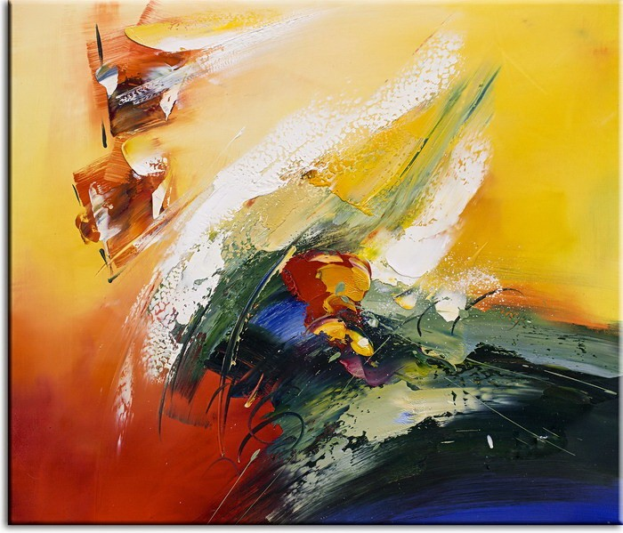 Totti Moreno Leinwandbild - Abstrakt Rot Gelb