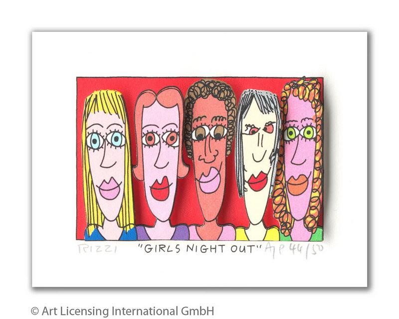 James Rizzi - Girls night out - Original 3D Bild drucksigniert - ohne Rahmen PP-Normale Nummer