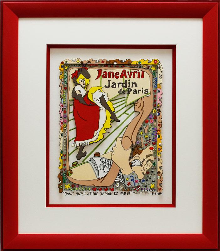 James Rizzi - JANE AVRIL AT THE JARDIN DE PARIS - Original 3D Bild HANDSIGNIERT