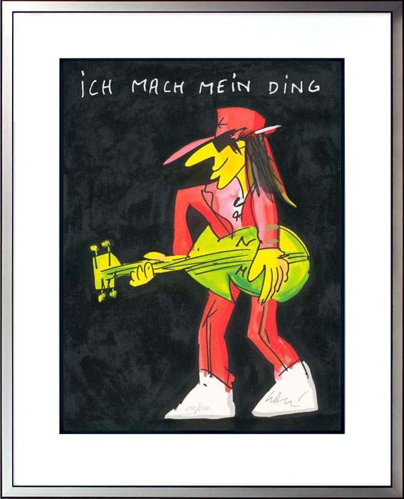 Udo Lindenberg ICH MACH MEIN DING - ROT - original Grafik handsigniert