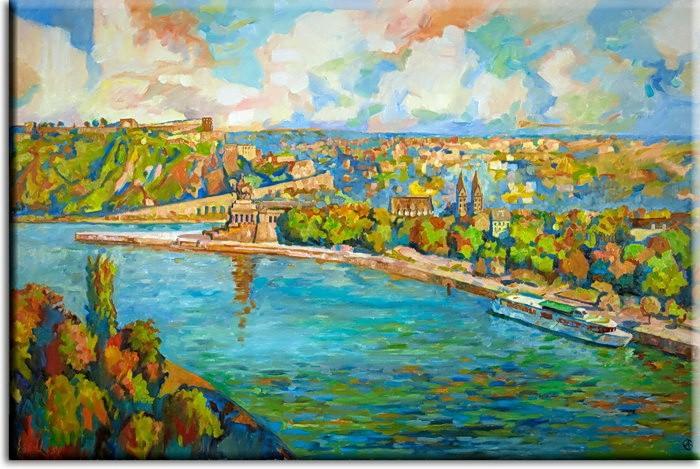 A. Baecker - Leinwandbild Koblenz expressionistisch