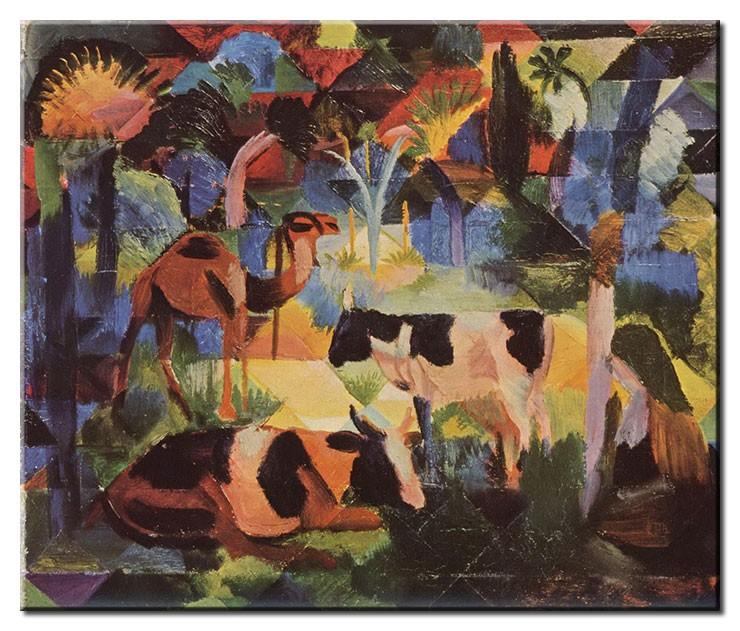 August Macke Bilder - Landschaft mit Kühen und Kamel
