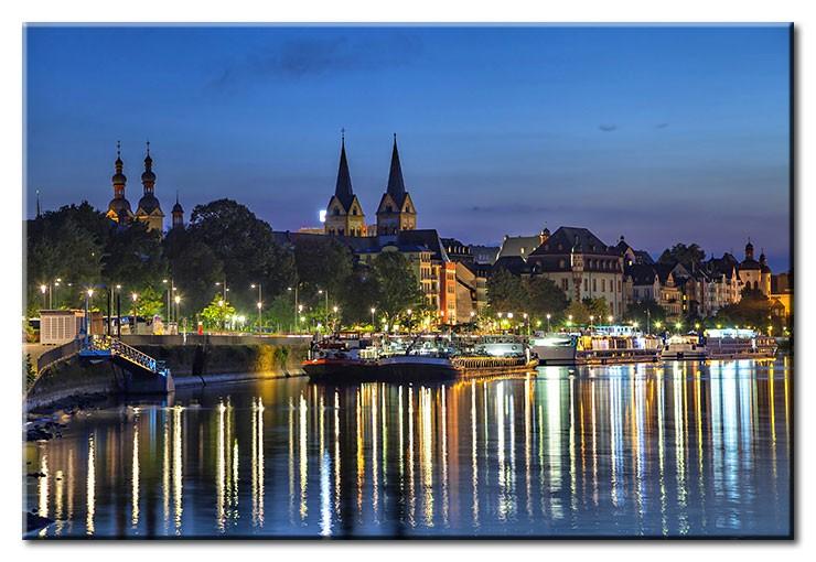 Koblenz - Mosel City Lights - Leinwandbild
