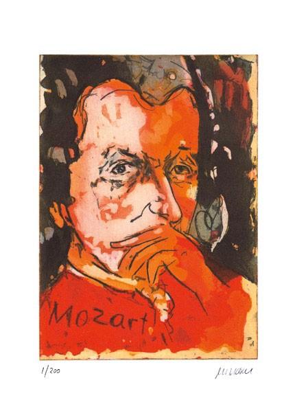 Armin Mueller-Stahl - Wolfgang Amadeus Mozart - Original Radierung - limitiert und handsigniert