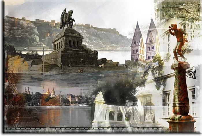 Koblenz Collage in Blau von A. Baecker Leinwandbild