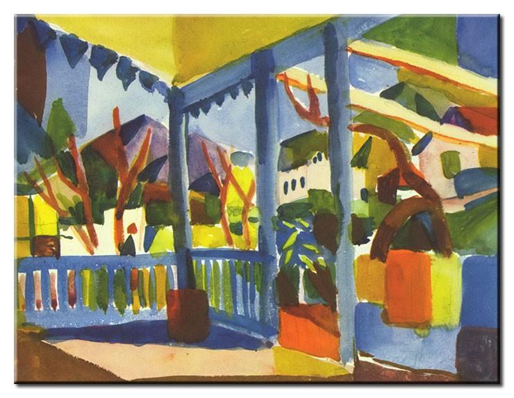 August Macke Bilder - Terrasse des Landhauses in St. Germain
