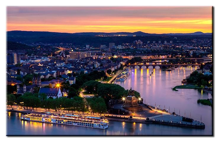 Koblenz At Night - Leinwandbild