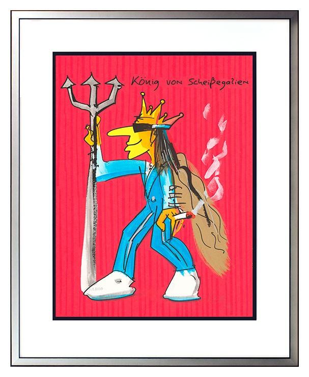 Udo Lindenberg KÖNIG VON SCHEISSEGALIEN - ROT - original Grafik handsigniert