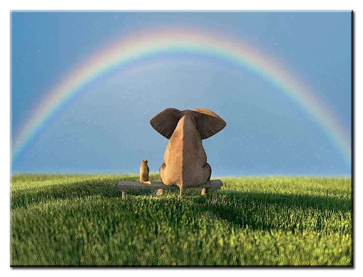 Modernes Leinwandbild - Beste Freunde - Elefant und Hund mit Regenbogen