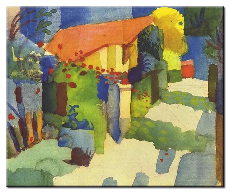 August Macke Bilder - Haus im Garten