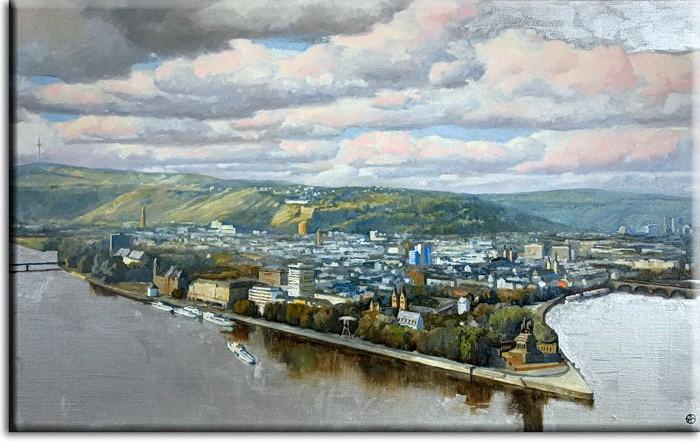 Koblenz Bild - Deutsches Eck Leinwandbild von A. Baecker