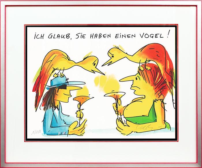 Udo Lindenberg ICH GLAUB SIE HABEN EINEN VOGEL - original Grafik handsigniert