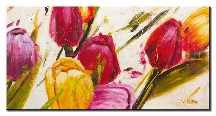 Modernes Leinwandbild - Bunte Tulpen