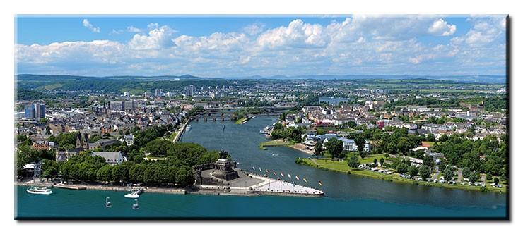 Koblenz - Deutsches Eck Panorama - Leinwandbild