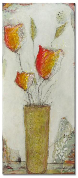 Karin Melé - Les fleurs du jardin I - Original handgemalte Mischtechnik