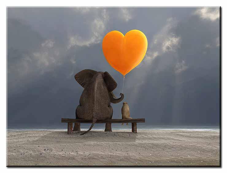 Modernes Leinwandbild - Beste Freunde - Elefant und Hund mit Herz