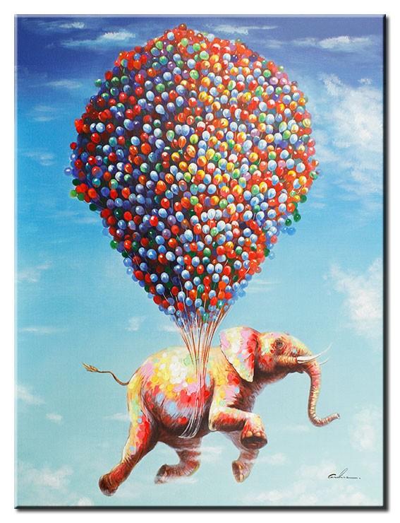 Modernes Leinwandbild - Flying Jumbo - Elefant mit Luftballons - handüberarbeitete Mischtechnik